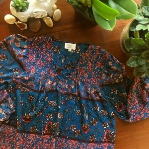 Everly by Francesca's-Floral Long Sleeve Blouse-